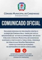 Câmara de Vereadores adota medidas contra o Coronavírus