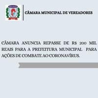 Câmara de Vereadores anuncia repasse de R$ 200 mil à prefeitura de Canoinhas