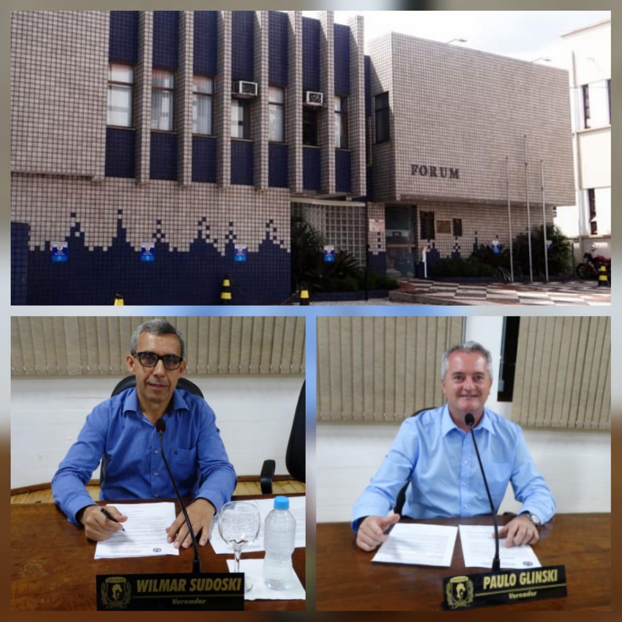 Paulo Glinski e Wilmar Sudoski recebem posicionamento do Tribunal de Justiça para doação ao município do antigo imóvel Fórum de Canoinhas