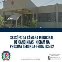 Sessões Legislativas retornam segunda-feira